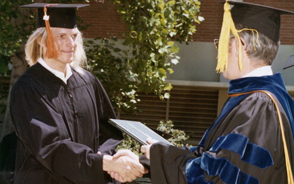 Thomas Appell receiving his Bachelor of Science degree. Thomas Appell is a vocal coach in Orange County, CA at Appell Voice Studio.